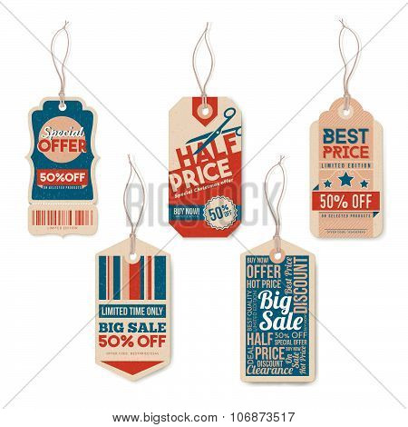 Vintage Tags With String