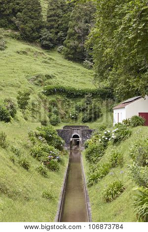 Drainage Channel Water In Lagoa Azul. Sete Cidades. Azores, Portugal