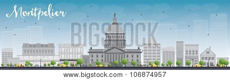 Montpelier (Vermont) city skyline with grey buildings and blue sky. Business travel and tourism concept with modern buildings. Image for presentation, banner, placard and web site.