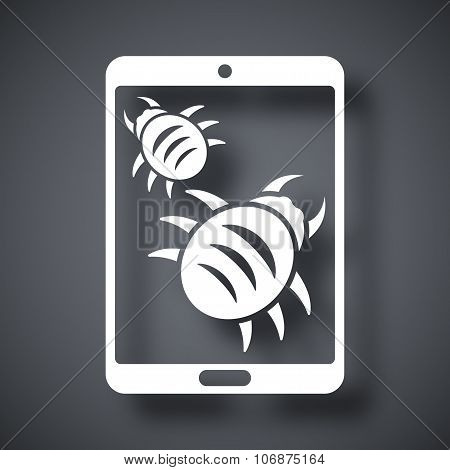 Tablet Is Infected By Malware, Vector Illustration