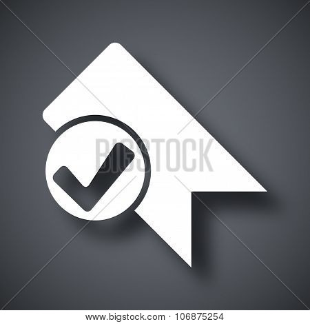 Vector Bookmark Icon With Check Mark Glyph