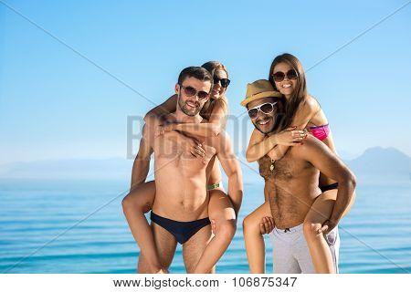 Friendly company on the beach.