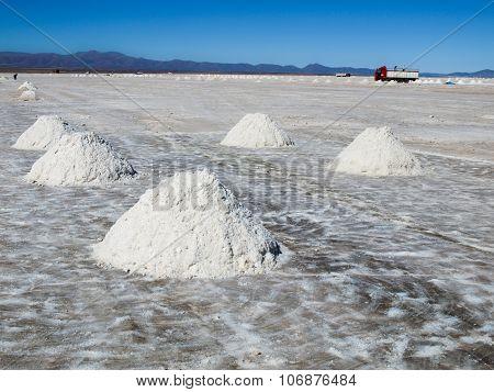 Salt piles on bolivian Salar de Uyuni