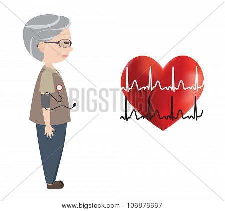 Old man monitored blood pressure and heart and Electrocardiogram, vector