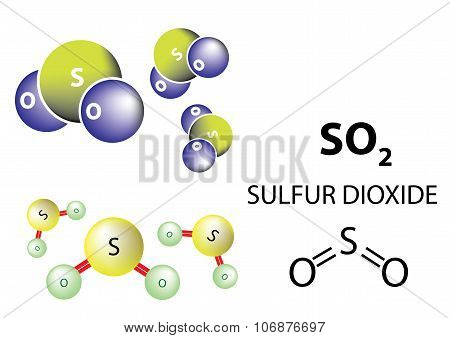 SO2 Sulfur dioxide is a toxic gas