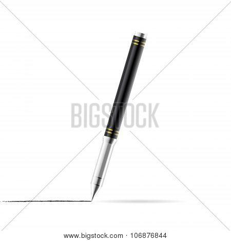 Gel Pen Draws A Line