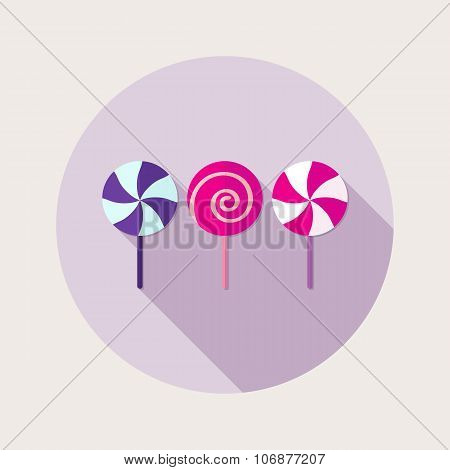 Flat design sweet lollipops icon with long shadow