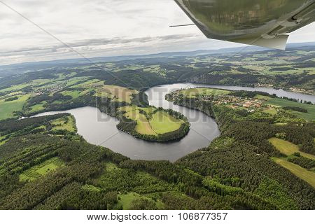 Meander Of The River Vltava In The Czech Republic, View From The Plane