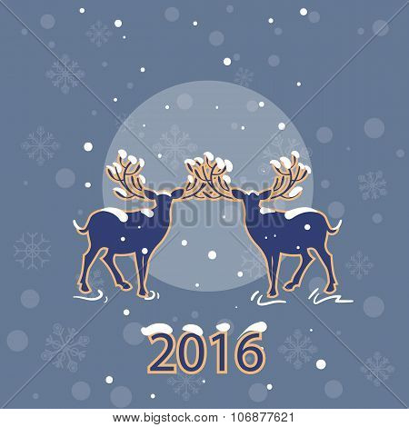 Merry Christmas. Calendar 2016. Two Beautiful Deer On Moon Background Christmas Night