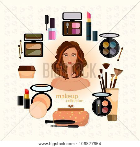 Cosmetics And Make-up Beautiful Woman Face Make-up Artist Collection Of Various Make Up Accessories