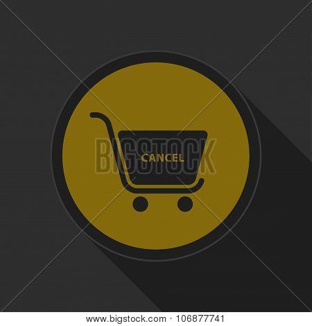 Dark Gray And Yellow Icon, Shopping Cart Cancel