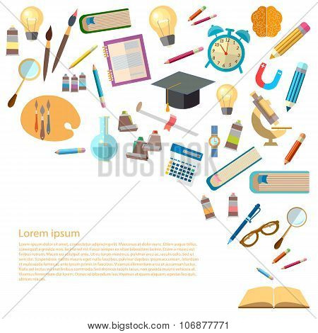 Open Book And Icons Of Education Concept Back To School Power Of Knowledge Effective Education Vect