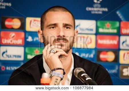 Monchengladbach, GERMANY - 2nd NOVEMBER, 2015: Leonardo Bonucci at press conference ahead of UEFA Champions League group match Borussia Monchengladbach vs. Juventus FC.