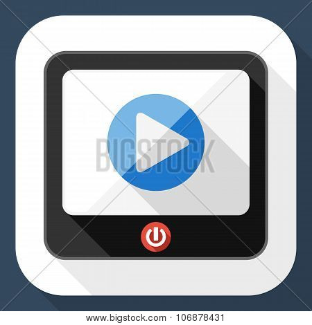 Tv Flat Icon With Play Button And Long Shadow