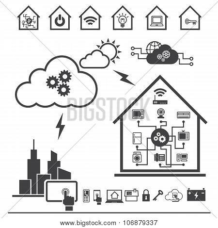 Big Data icon set, Cloud computing technology