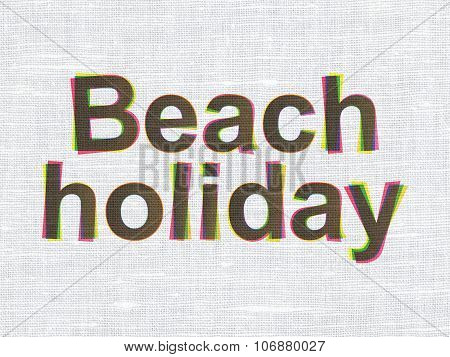 Tourism concept: Beach Holiday on fabric texture background