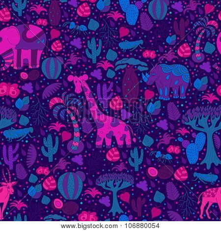 Cute Africa Seamless Pattern With Wild Animals From Savanna: Giraffe, Elephant, Rhino, Antelope.