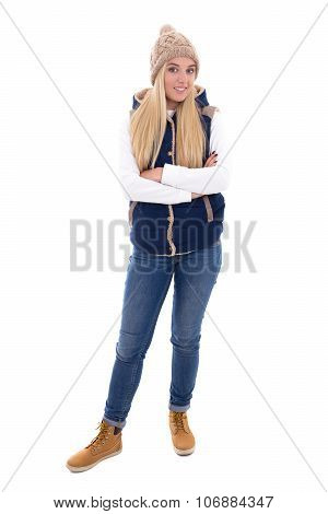 Full Length Portrait Of Young Blond Woman In Warm Clothes Posing Isolated On White