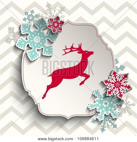 red deer with abstract snowflakes on beige chevron background, christmas illustration