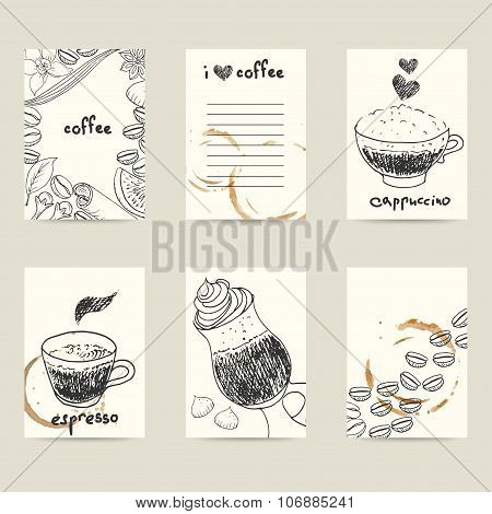 Set Of Vector Design Templates With Coffee Cups, Beans And Stains.