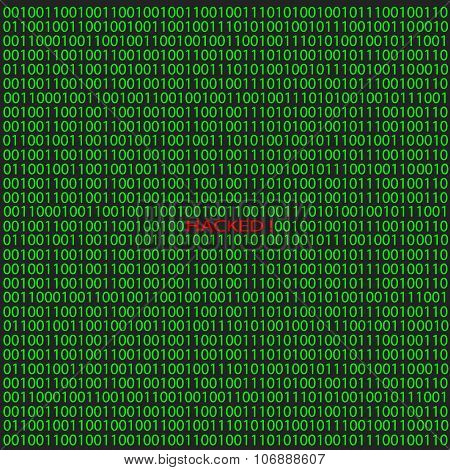 Hacker attack on digital binary background. Vector illustration.