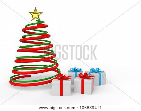 3d Christmas spiral tree and gifts