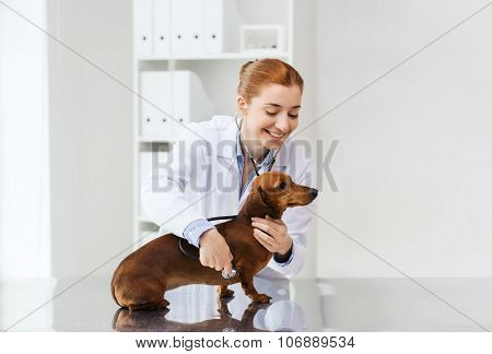 medicine, pet, animals, health care and people concept - happy veterinarian doctor with stethoscope examining dachshund dog at vet clinic