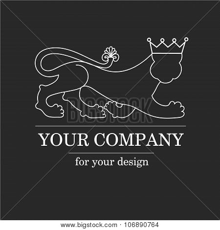 Silhouette animal lion predator with crown - logo emblem template for business. Vector logotype temp