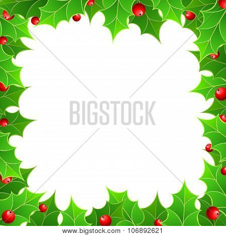 Christmas Background With  Holly Berry.