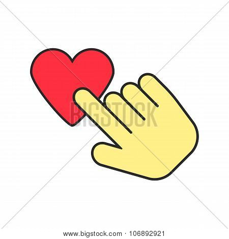 yellow hand icon press heart