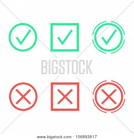 set of check marks in different shapes