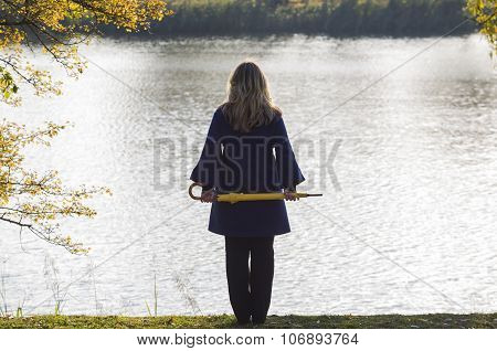 Girl, Fall, Park, Lake