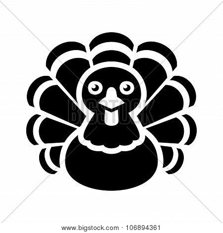 Turkey Thanksgiving Icon on White Background. Vector