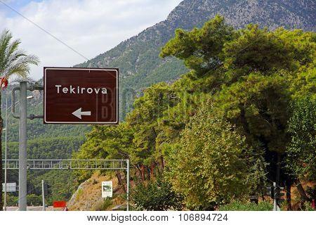 Tekirova Direction Road Sign On Road.turkey.