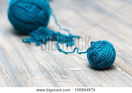 blue ball of wool