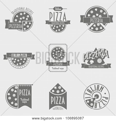 Vector Illustration Pizza Logo Set.