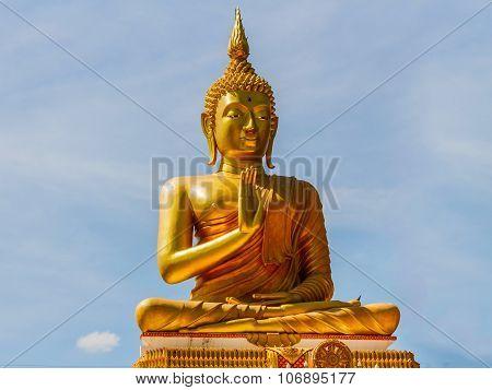 Big Golden Buddha Statue In Thailand Temple