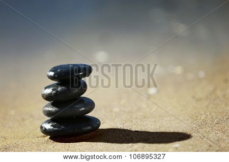 Pebbles on seashore