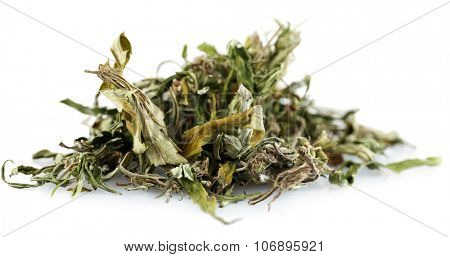 Heap of dry medical cannabis isolated on white