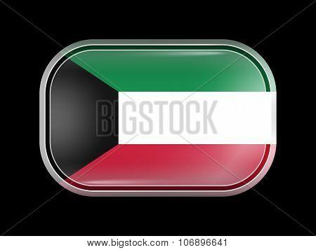 Flag Of Kuwait. Rectangular Shape With Rounded Corners