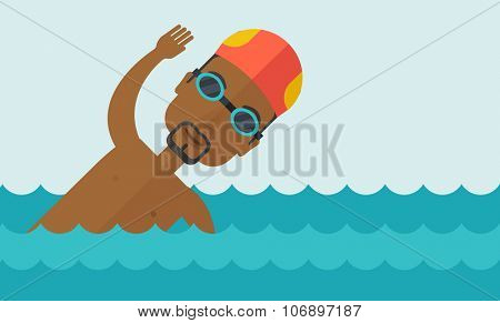 An african-american swimmer wearing cap and glasses training in water vector flat design illustration. Horizontal layout with a text space for a social media post.