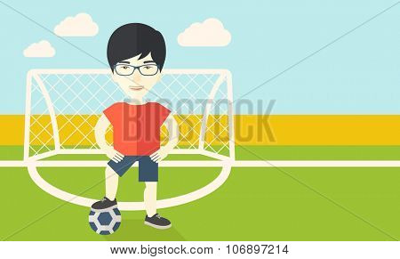 An asian football player with ball standing on field of stadium vector flat design illustration. Horizontal layout with a text space for a social media post.