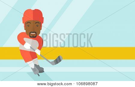 A african-american ice-hockey player skating with a stick at the rink vector flat design illustration. Horizontal layout with a text space for a social media post.