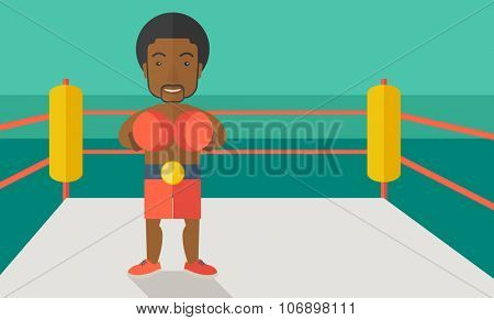 Single an african-american boxer in gloves standing in the ring vector flat design illustration. Horizontal layout with a text space for a social media post.
