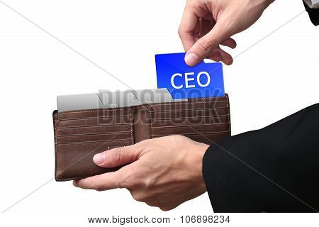 Businessman Hands Paying Folder Ceo Concept On Brown Wallet.