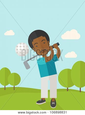 A african-american golf player hitting the ball in the field vector flat design illustration. Vertical poster layout with a text space.