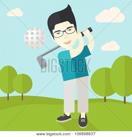 An asian golf player wearing glasses hitting the ball on the field vector flat design illustration. Square layout.