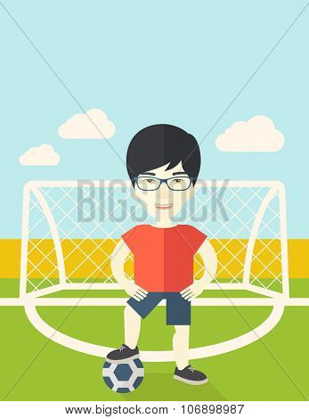 An Asian football player with ball standing on field of stadium vector flat design illustration. Vertical poster layout with a text space.