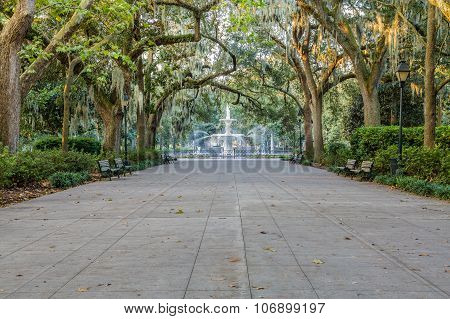 Wide Walkway To Forsyth Fountain