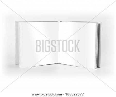 Blank Open Book Standing Over White Background.